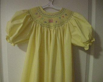 Hand Smocked Birthday Bishop Dress sz 1-3