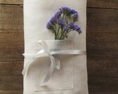 Linen tablecloth with pockets, Ecru tablecloth, Easter tablecloth