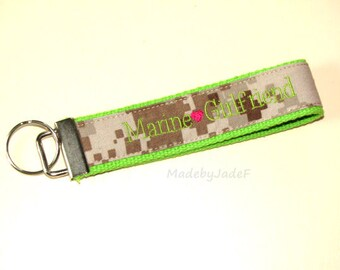 Marine Girlfriend Keychain Lime Green and Pink