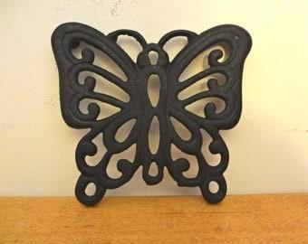 Vintage Cast Iron Butterfly Shaped Trivet