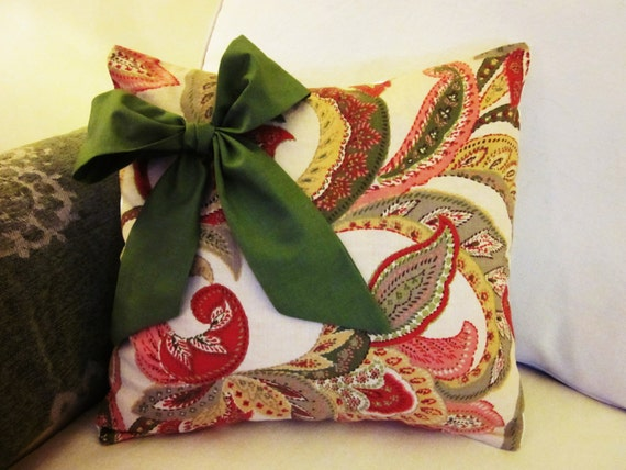 """Christmas Pillow Covers, Decorative Pillow with Bow, Accent Pillow, 18 x 18"""""""