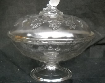 EAPG Glass LaBelle Glass Co Gooseberry Covered Compote