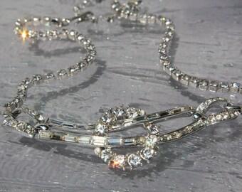 Vintage Bridal Necklace, Wedding Necklace, Wedding Jewelry, 1950's Rhinestone Necklace, Diamante Princess Necklace