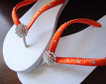 Orange Flip Flops. Bridal  flip flops w/ Swarovski Crystals. Wedding Orange flip flops. Bridal Party -Other colors available-BELLA-