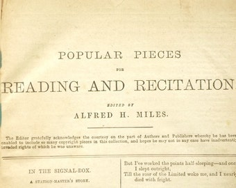 Victorian Popular Pieces for Reading and Recitation edited by Alfred H. Miles