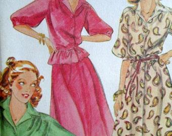 Shirtdress Top Skirt Set 70s Sewing Pattern, tea dress button up blouse bias cut flowy skirt 70's 1970's, McCall's 6374, size 12 bust 34,
