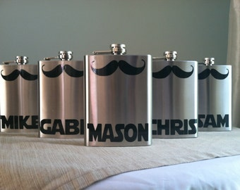 9 Personalized Groomsmen Mustache Stainless Steel 8 oz. Flasks