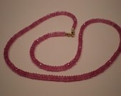 Delicious Pink Sapphire Faceted Rondelle Necklace with 14K Gold Lobster Claw Clasp Valentine's Day gift