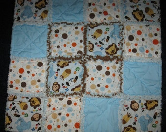 SALE - 24 inch Rag Quilt Security Blanket