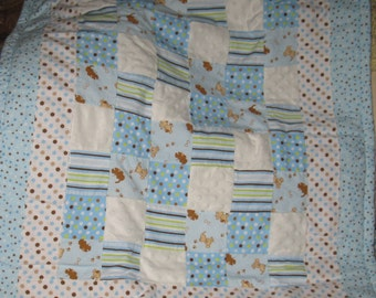 Boys Patchwork Soft Baby Quilt in Blues