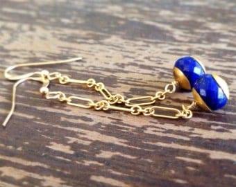 Lapis Earrings - Gold Jewellery - Navy Blue Gemstone Jewelry - Lapis Lazuli - Chain