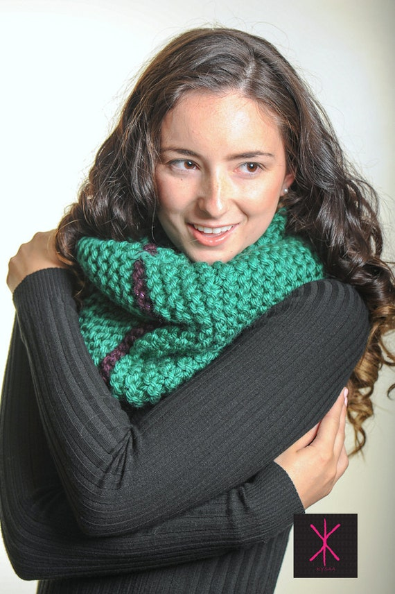 Handknit Unique Emerald Eggplant Chunky Cowl- Reserved for Danielle