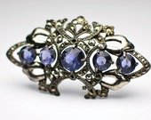 Victorian Large Ornate Blue Jewel Paste Metal Brooch