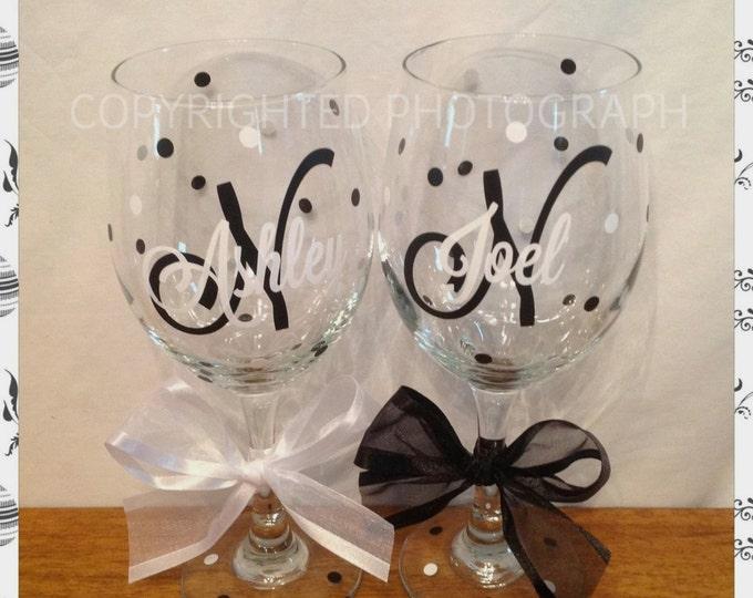 2 Personalized MONOGRAMMED WINE GLASSES Initial Monogram Name Polka Dots Wedding Birthday Gift Bride Bridesmaid Groom Groomsman