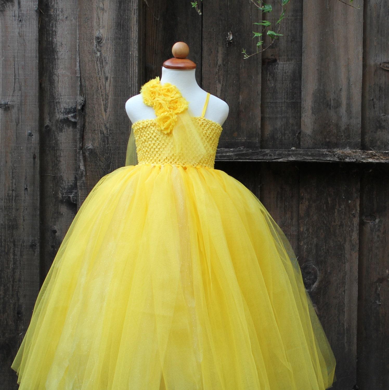Belle Princess Costume Yellow Flower girl Dress yellow