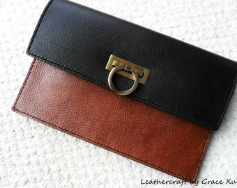 100% hand stitched handmade med brown with super dark brown cowhide leather clutch / purse