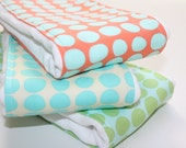 Baby Burp Cloths - Set of 3 - Amy Butler Love Sunspots in Tangerine, Turquoise, and Mint