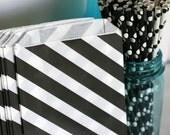Black and white diagonal stripe popcorn bag, bitty bag, wedding candy bar buffet bag, cookie bag, birthday treat bag, Black and white bag
