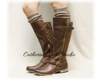Boot socks tall boot socks knit boot socks womens socks tweed socks leg warmers tall socks ALPINE ADORE Brown Catherine Cole Studio BKS0