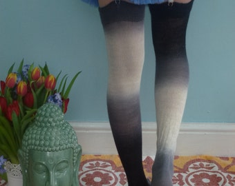 Thigh High stockings - Victorian Steampunk Edwardian OVER THE KNEE - black into grays and winter white - merino - bleeding colours