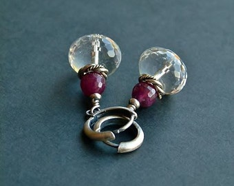 Clear Crystal and Ruby sterling silver earrings