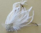 Gatsby Headpiece, Great Gatsby Wedding,1920s, Ivory, White, Bridal Head Piece, Peacock Feather, Fascinator,