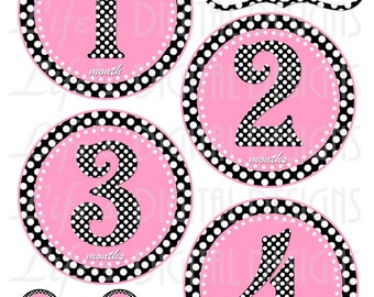 Milestone Stickers Polka Dot Light Pink Instant Download DIY Printable BONUS Just Born, 1-3 Weeks and Reminder Stickers LDD-011
