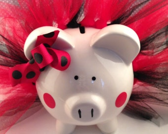 Polka Dot Tutu Piggy Bank-Piglet- red and black-Baby Gift