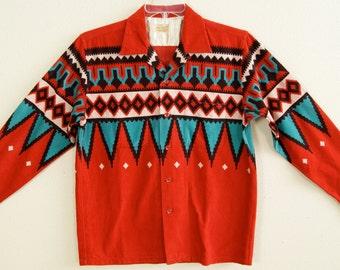 1950s -M- Native Print - Cord - Rockabilly - Shirt - Repro - Style Eyes - Rare - RnR - 50s