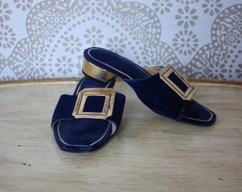 Women's Vintage 1960's Blue Velvet and Gold Metallic Slippers House Shoes Heels 5.5M