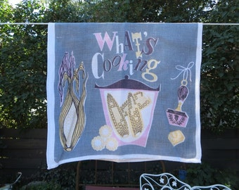 Vintage Lois Long What's Cooking Dish Towel Gray Mid Century Kitchen Towel Tea Towel
