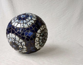 Blue and White Mosaic ball, picassiette gazing globe, garden decor