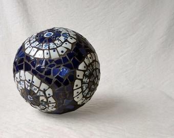 Blue and White Mosaic ball, picassiette gazing globe, garden decor