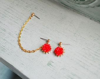 Red Rose Double Pierce Cartilage Earrings