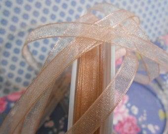"""Ribbon Chiffon Powder Pink Luxe 1/4""""width 5 Yards"""