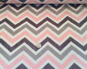 cuddle soft - pink and grey chevron stripes