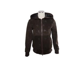 Printed suede jacket with hood