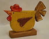 Folk Art Chicken, Folk Art Rooster, Wood Chicken, Wood Rooster, Chicken Decor, Chicken Art, Painted Chicken