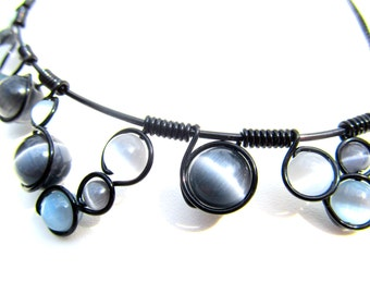 Wire Wrapped Necklace - Mixed Shades of Grey Cats Eye Beads Black Wire and Adjustable Matching Chain