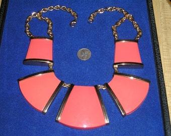 Vintage Runway Necklace Large Mod Pumpkin Orange Thermal Set 1970's Jewelry 7044