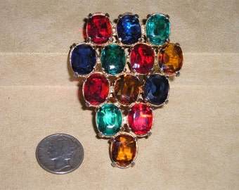 Vintage Dress Clip Or Shoe Clip With Multi Colored Glass Stones 1940's Jewelry 2329