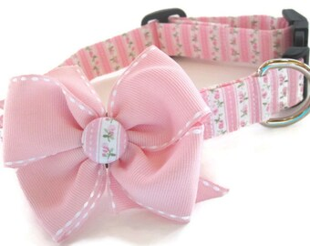 Shabby Chic Pink and Green Dog Collar size Large