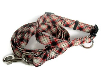 Black and Red Tartan Plaid Dog Collar and Leash Set size Extra Small