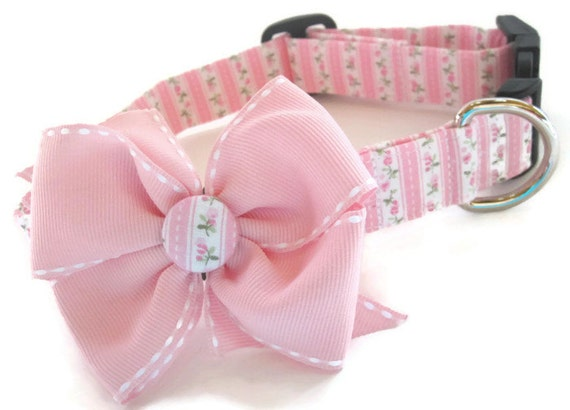 Shabby chic pink and green dog collar size large for Shabby chic dog