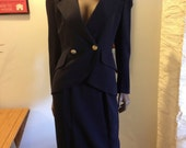 1980s Christian Dior Women's Navy Suit (Jacket and Skirt) // SIZE 4