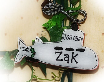 Navy Submarine Christmas Ornament Personalized Gift Ornie Military