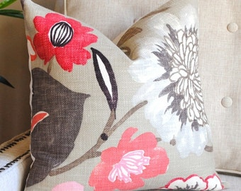 Ready to Ship-Decorative Pillow Cover -18x18- Jelly Bean-Accent Pillow-Toss Pillow-- Pink, Red, Brown and Taupe