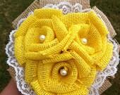 Custom Yellow Burlap Bouquet - Mini (3 roses)
