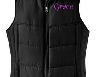 Monogrammed Puffy Vest, Women's Preppy Puffer Vest, Personalized Vest, Puffy Vest, Quilted Vest, Puffer Vest