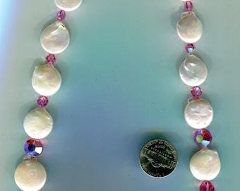 Coin Pearls vintage Swarovski pink crystal beads necklace